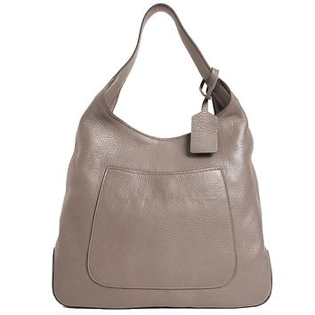 Prada Women's Argilla Grey Leather Large Hobo Tote Bag Shoulder Bag 1BC006