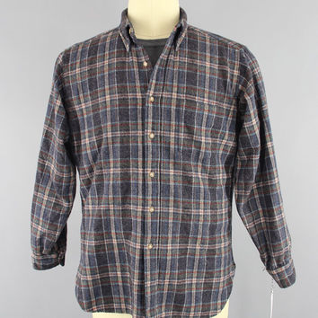 Vintage 1960s Pendleton Wool Shirt / 60s Men's Plaid Shirt / Vintage Menswear / Blue Tartan / Medium M