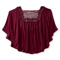 Solid Peasant Poncho Top