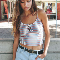 Striped Lace Up Crop Top
