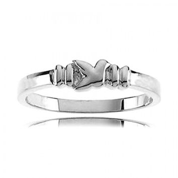925 Sterling Silver Dove of Peace Ring: Sterling Silver Women'S Holy Spirit Dove Chastity Ring