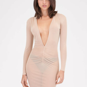 Ruche Hour Plunging Sheer Mesh Dress GoJane.com