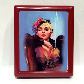 Vintage Pin Up Girl Smoking Lady Cigarette Case Metal Cigarette or ID or Business Card Case Wallet