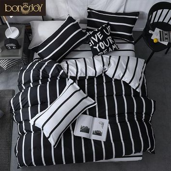 Cool Bonenjoy Black and White Colo Striped Bed Cover Sets Single/Twin/Double/Queen/King Quilt Cover Bed Sheet Pillowcase Bedding KitAT_93_12