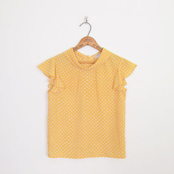 Polka Dot Blouse Top Polka Dot Print Blouse Mustard Blouse Mustard Yellow Blouse Flutter Sleeve Blouse Secretary Blouse 80s Blouse S Small