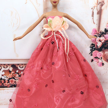 NK One Pcs Princess Doll New handmake wedding Dress Fashion Clothing Gown For Barbie Hot Dolls Accessories Best Gift 034A