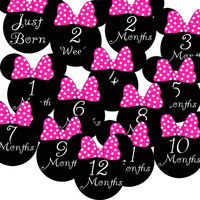 14 Pink Minnie Mouse Ears Baby Girl Monthly Milestone Onesuit Stickers Newborn Shower Gift
