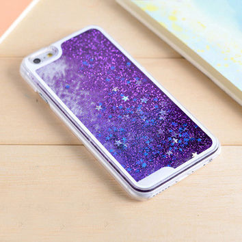 Purple Star Dynamic Liquid Glitter Sand Quicksand Star Bling Clear iPhone 5/5S Phone Case