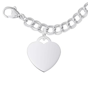 Medium Heart Charm and Bracelet Set in Sterling Silver