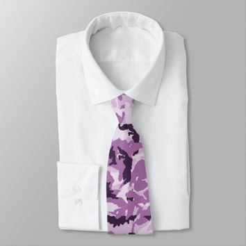 Pink & Purple Camouflage Background Neck Tie