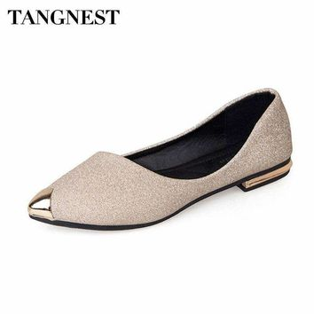 Tangnest Fashion Metal Toe Women's Flats New 2018 Bling Shallow Ballet Flats For Female Pointed Toe Shoes Gold Black