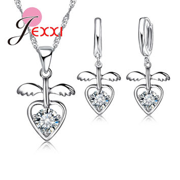 Jemmin Unique Design Wing Heart Romantic 925 Sterling Silver Wedding Bridal Necklace Earrings Pendant Jewelry Set For Women