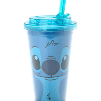 Disney Lilo Stitch Face Flip Straw Acrylic Travel Cup