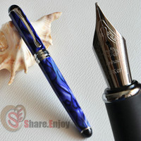 FREE SHIPPING NOBLE JINHAO X750 ROYAL BLUE MARBLE AND SILVER 0.7mm BROAD NIB FOUNTAIN PEN