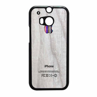 Apple Logo On White Wood Colorful HTC One M8 Case