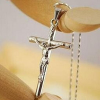 Unisex Cross Pendant 18K Real Gold Plated Pendant Necklace