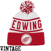 Detroit Red Wings Vintage High 5 Cuffed Knit Beanie - Red/White