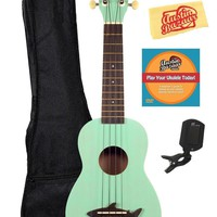 Kala MK-SS-GRN Makala Shark Soprano Ukulele Bundle with Gig Bag Austin Bazaar Instruct