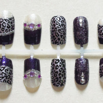 Purple, Metallic Lavender and Shimmery White Fake Nails with Cheetah Print, Crystals, Purple Rhinestones, Silver Beads and Glitter Nail Set