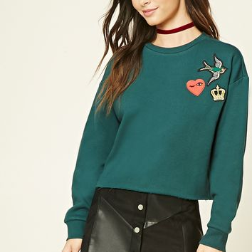 Patch-Front Raw-Cut Sweater