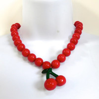 Red Cherry Necklace Rockabilly Style