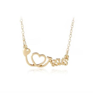 Kshmir The new fashion of heart-shaped necklace The stethoscope pendant Personality couples act the role ofing is tasted
