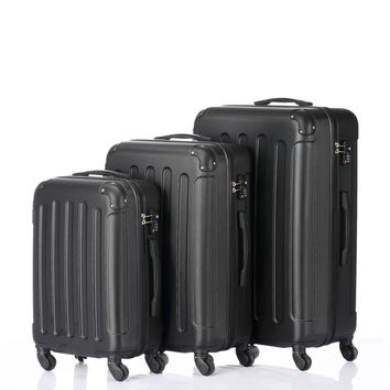 """Suitcase set. 3-in-1 Portable ABS Siitcase 20"""" / 24"""" / 28"""" Black"""