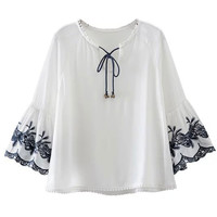 White Bell Detail Tied V-neck Flare Sleeve Blouse