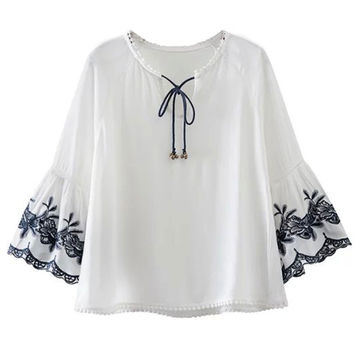 White Bell Detail Tied V-neck Embroidery Flare Sleeve Blouse