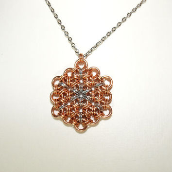 Bronze Flower of Life Japanese Chainmaille Pendant with Star Burst Centre,  Sacred Geometry Pendant, Yoga Pendant, Kabballah Pendant