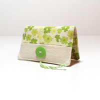 Credit Card Wallet - Floral - Green - Business Card Holder - Business Card Display