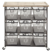 "34"" Tall Metal Storage Cart w/ Baskets, Storage Boxes & Bins"