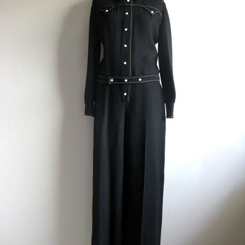 Vintage 1970s Jumpsuit Black Long Sleeve 70s Groove Pant 1 pc Suit Md-Lrg
