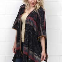 Part of the Tribe Printed Kimono Cardigan {Dark Grey Mix}