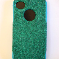 iPhone 4/4s glitter Otterbox Case,  Custom  Glitter Green / Teal Otterbox Color Combination