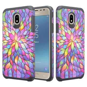 Samsung Galaxy J7 V 2nd Gen, J7 2018, J7 Star, J7 Refine, J7 Aero, J7 Aura, J7 Eon, J7 Pro SM-J730GM/DS, J7 Top, J7 Crown Case, Slim Hybrid Dual Layer [Shock Resistant] Case Cover for Samsung Galaxy J7 2018 - Rainbow Flower