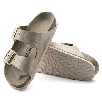 CREYNW6 Sale Birkenstock Arizona Suede Leather Washed Metallic Rose Gold 1008799/1008800 Sandals
