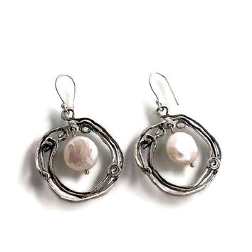 Large pearl earrings , pearl earrings , handmade pearl earrings , pearl jewelry , dandle earrings for women , israeli design