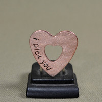 Double heart mini guitar pick in copper