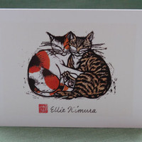 Two Cat linocut print greetings card