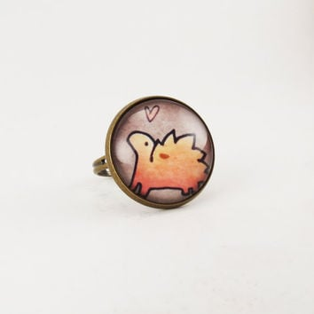 Kawaii Stegosaurus Ring Cute Dinosaur Jewelry by cellsdividing