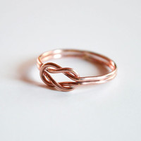 Sailor knot ring, rose gold knot ring, pink gold ring, love knot ring, 14k rose gold filled