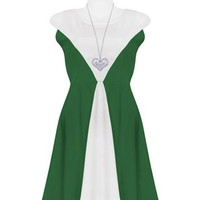 Green Contrast V Dress
