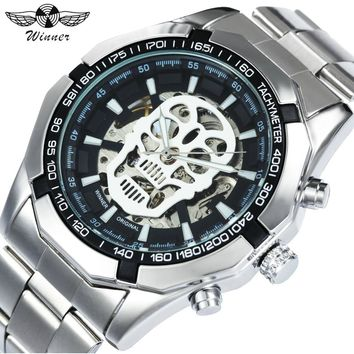 WINNER Watches Men 2018 Top Brand Luxury Automatic Mechanical Wristwatches Silver Stainless Steel Strap Skull Skeleton Clock