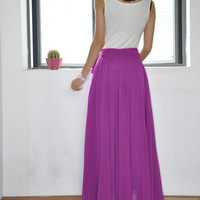 High Waist Maxi Skirt Chiffon Silk Skirts Beautiful Bow Tie Purple Elastic Waist Summer Skirt Floor Length Long Skirt(037)