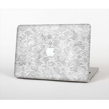 "The White Textured Lace Skin Set for the Apple MacBook Pro 15"" with Retina Display"