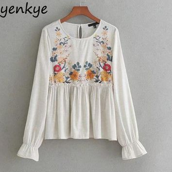 Floral Printed Blouse Casual Long Sleeve O Neck Ruffle Top Autumn Gray Cotton Women Blouses