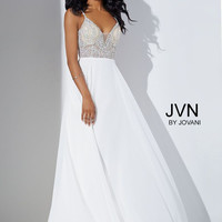 JVN by Jovani Beaded Bodice Dress- Off-white
