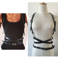 Fashion Punk Harajuku O-Ring Garters Faux Leather Body Bondage Cage Sculpting Harness Waist Belt Straps Suspenders Belt
