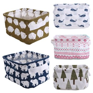 Cute Pastoral Linen Desk Storage Box Holder Jewelry Cosmetic Stationery Organizer Case Foldable Houseold Storage Basket